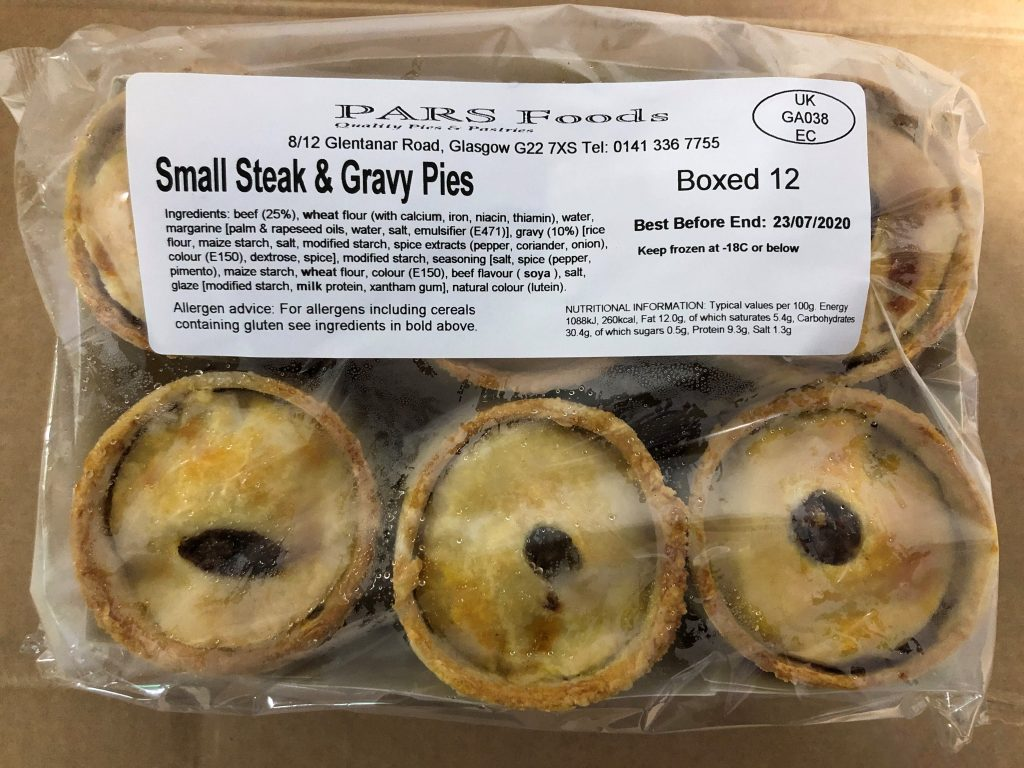 Pars Small Steak & Gravy Pies 1 Dozen